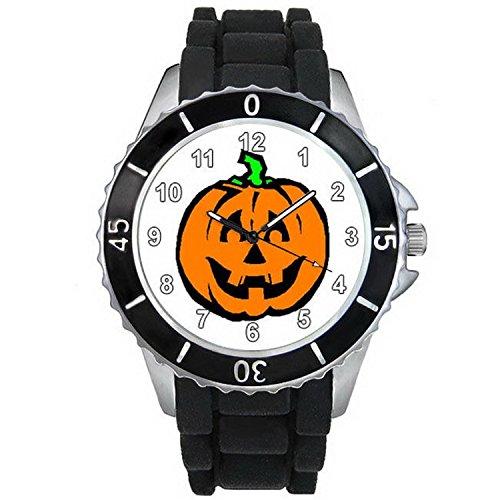 BMSC446 Halloween Pumpkin Black Jelly Silicone Band Mens Ladies Sports Wrist Watch