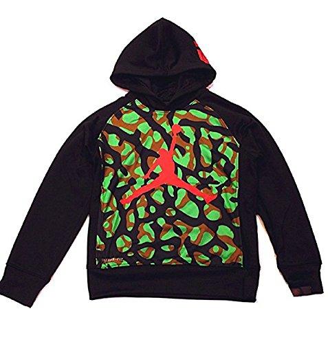 Nike Air Jordan Boys Therma-Fit Hooded Sweatshirt - Black Camo (Small 8-10 - Kids Sale Jordans