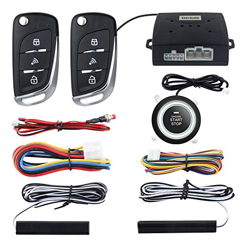 EASYGUARD PKE Passive Keyless Entry Car Alarm System Push Start Button Remote Start Starter DC12V EC003N-V-1