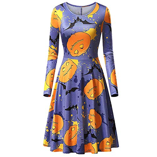 YOcheerful Women's Halloween Dress Lady Slim Swing Dress Cocktail Club Dress Top (A-Blue,S) for $<!--$7.99-->