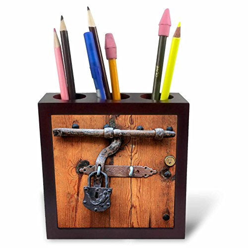 3dRose Danita Delimont - Architecture - Spain, Balearic Islands, Mallorca, door bolt and lock. - 5 inch tile pen holder (ph_277913_1) by 3dRose