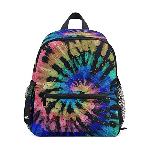 ZZKKO Tie Dye Modern Batik Kids Backpack School Book Bag for Toddler Boys - Bottle Park Bag Paisley