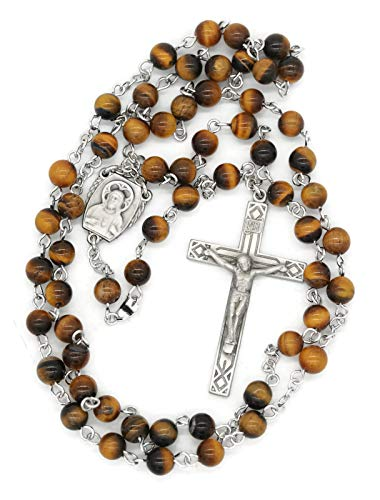 - BERTOF BT-PR-1609 Tiger Eye Beads 6mm Pewter Rosary WITH 100% Pewter Center and Crucifix Hand Made USA Copyrighted Paul Herbert Blessing PEWTARA Series