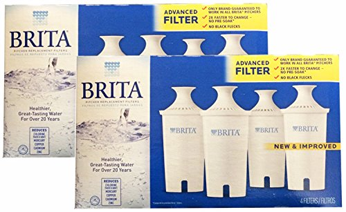 Brita Water Filter Pitcher Advanced Replacement Filters, 4 Count, (Pack of 2) (Brita Filters 8 compare prices)