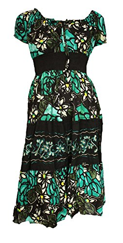 Dress Green Embroidered Peasant 14 Sizes 10 Gypsy TTEWq6v