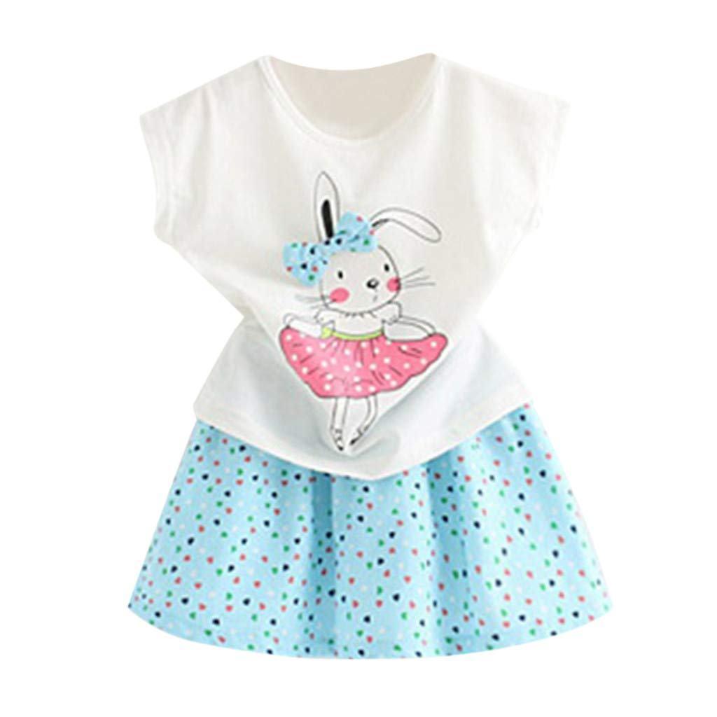 Toddler Baby Girl Easter Day Bunny Outfits Short Sleeve T-Shirt Tops+Dot Skirt Set 2-7T