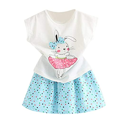 d5897cbbf0099 Toddler Baby Girl Easter Day Bunny Outfits Short Sleeve T-Shirt Tops+Dot  Skirt