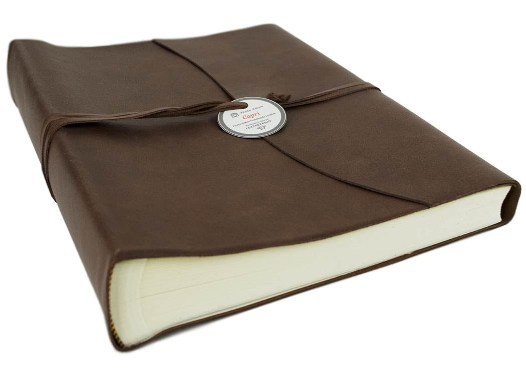LEATHERKIND Capri Leather Photo Album Chocolate, Large Classic Style Pages - Handmade in Italy by LEATHERKIND