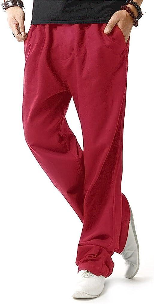 HOEREV Uomo Casual Spiaggia pantaloni di lino Jean Jacket Pantaloni