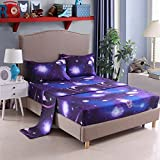 YOUSA Moon and Stars Print Bed Sheet Set 3D Blue Galaxy Bedding Collections (Full,01)