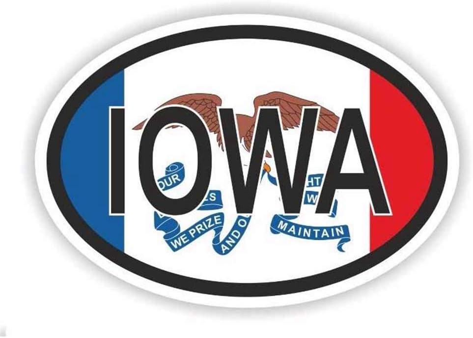 15.2Cm * 10.1Cm Accesorios Oval Iowa Usa Country Code Bike Decal Car Sticker