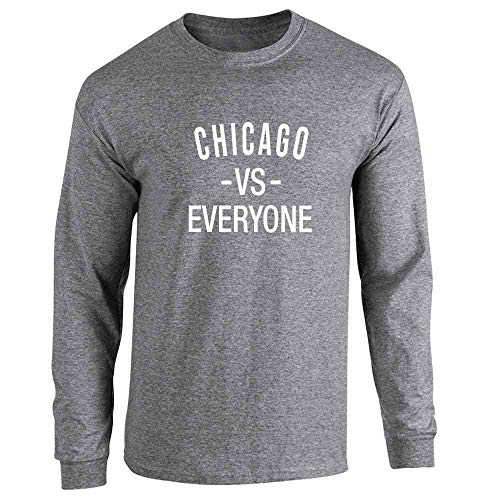 - Pop Threads Chicago vs Everyone Sports Fan Graphite Heather XL Long Sleeve T-Shirt