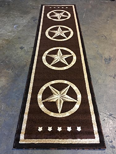 Texas Star Long Runner Area Rug Dark Brown Design 5457 (32 inches X10 feet ()