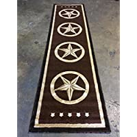 Texas Star Long Runner Area Rug Dark Brown Design 5457 (32 inches X10 feet )