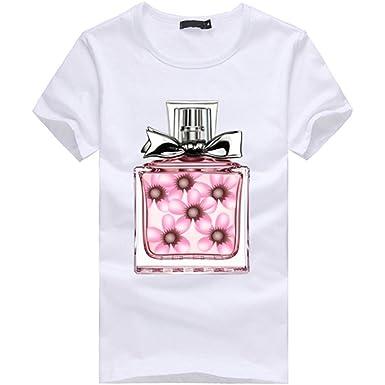 e55968b738c83f Amazon.com: WM & MW Womens Teen Girls T Shirt Short Sleeve Casual Cute  Perfume Bottle Graphic Tee T-Shirt Pullover Blouse Tops: Clothing