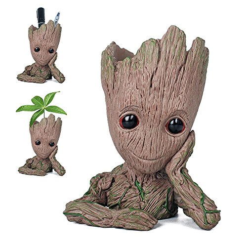 Flowerpot Groot Cartoon Flowerpot Baby Action Figures Guardians of The Galaxy Green Plants Flower Pot with Hole Pen Holder Best Gifts For Kids