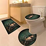 Anhuthree Mythological Bath Rug Set Spiritual Woman with Snakes on Her Head Sacred Occult Style Zen Meditation 3 Piece Shower Mat Set Green Tan