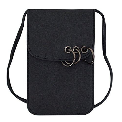 (LABANCA Girls Retro Mini Wallet Purse Crossbody Phone Bag Flap Metal Circle Handbag Pouch Cross Body Purse Black)
