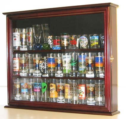 Souvenir/State/Hard Rock Shot Glass and Tall Shooter Display Case Holder Cabinet, glass door, Mahogany Finish (SC04-MA)