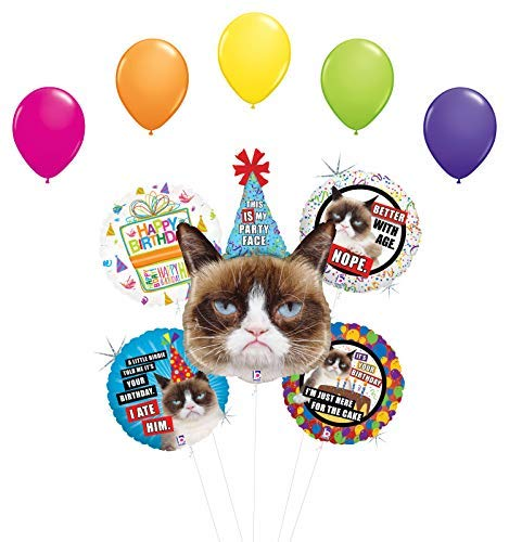 Grumpy Cat Party Face Birthday Party Supplies Balloon Bouquet Decorations