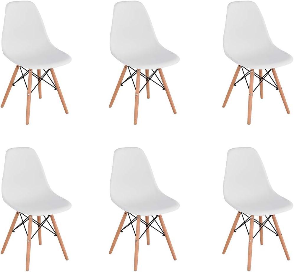 con Gambe in Legno Senza braccioli KunstDesign Set di 6 sedie da Sala da Pranzo in plastica Stile retr/ò Bianco