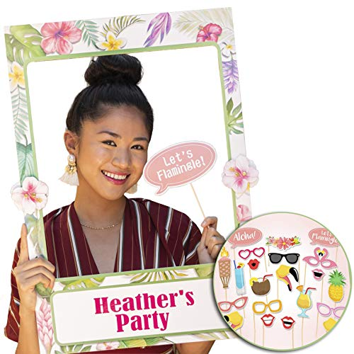 Hawaiian Luau Photo Booth Frame 2-sided with 21 pcs Props, Moana Summer Party Decorations & Supplies for Tropical Tiki Luau Pool Birthday Theme Partys, Wedding Backdrop, Bridal or Baby Shower