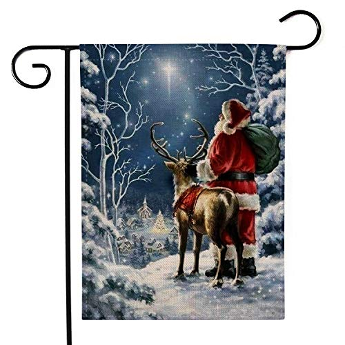YINGXIANG Decorative Merry Christmas Garden Flag Winter Vintage Yard Rustic Christmas Decor Home Elk Outdoor Lawn Yard Decor Flags 12.5 x 18.5 Inches (Christmas Flags Mailbox)
