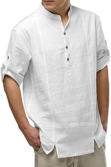 STRIR Camisa para Hombre - Lino Blusa Casual de Manga Larga Top Alto Cuello de Color Sólido Blusas Suelta Camisas de Trabajo Suave Cómodo Transpirable (S, Blanco): Amazon.es: Ropa y accesorios