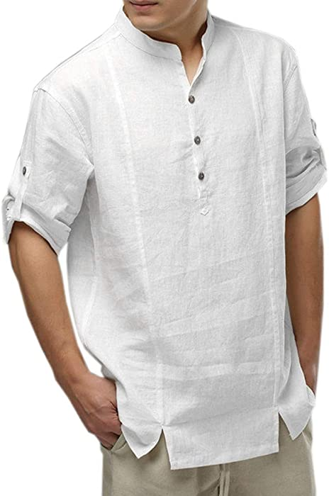 cedef8d43d52 TEBAISE Mens Cotton Linen Shirts Casual Long Sleeve Stand Neck Tops Loose  Blouse(White,