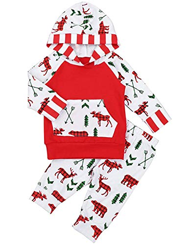 Newborn Christmas Outfit Infant Baby Girl Boy Clothes Xmas Elks Tree Print Long Sleeve Hoodies +Pants 2Pcs Winter Xmas Set (Red, 6-12 Months) ()