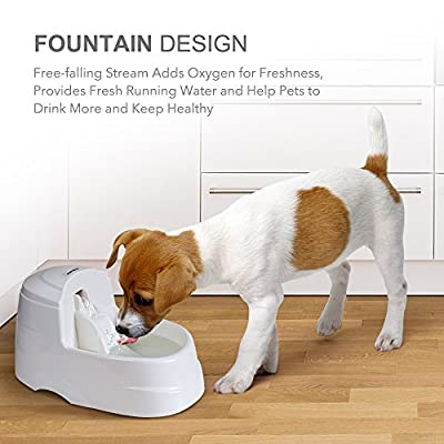 Dog Water Dispenser, marsboy Pet Fountain With 2.5L (0.66GAL) Capacity, 5Pcs Carbon Filter,Ultra Quiet, Anti Bacterial, Safe and Energysaving Water Bowl for Dogs Cats Birds