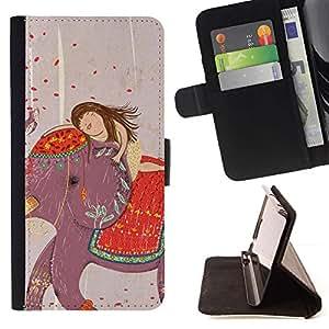 For Samsung Galaxy S6 EDGE (NOT S6) Plus / S6 Edge+ G928 Case , Dibujo India Chica del arte- la tarjeta de Crédito Slots PU Funda de cuero Monedero caso cubierta de piel