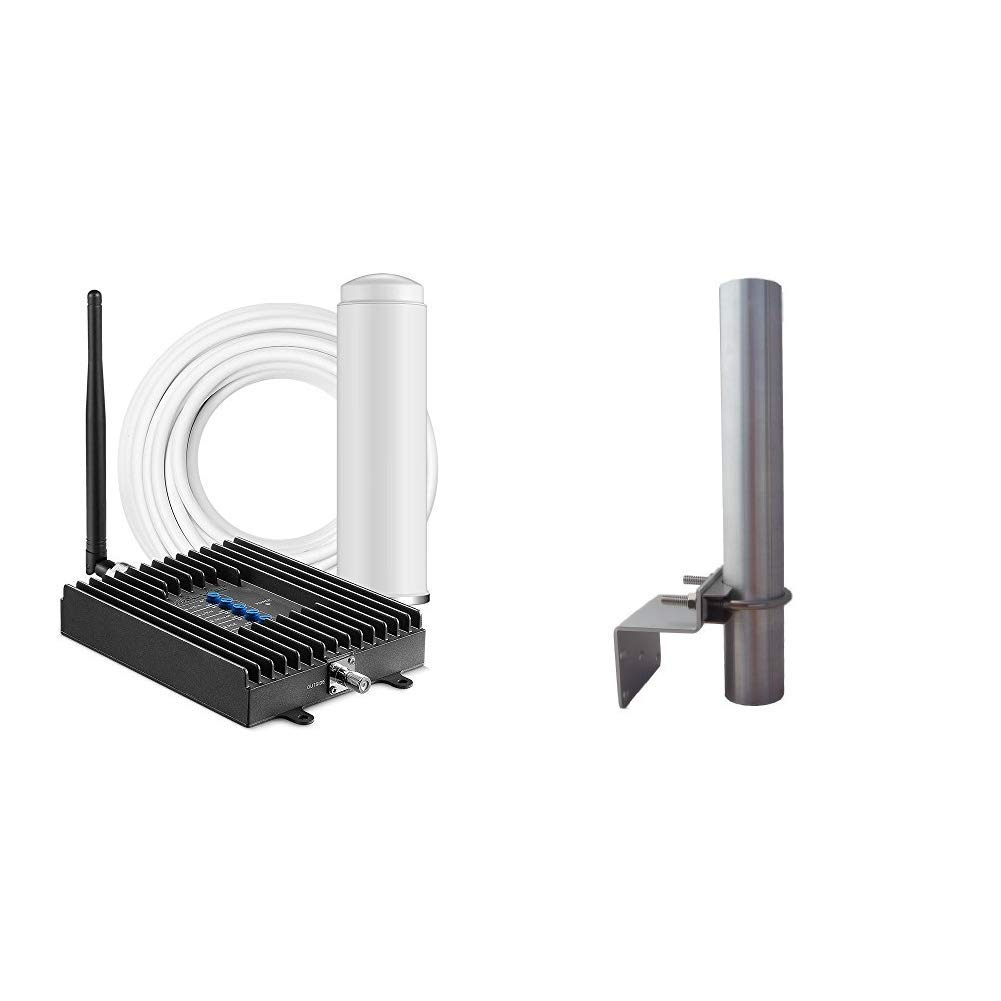 SureCall Fusion4Home Omni/Whip, Cell Phone Signal Booster Kit for All Carriers 3G/4G LTE up to 2,000 Sq Ft - SC-PolyH-72-ORA-Kit & Wilson 901117 Pole Mount for Antenna by SureCall