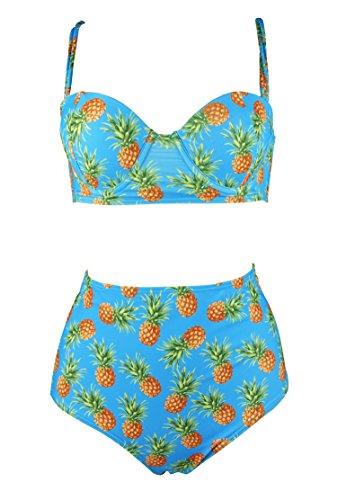 Cocoship Pineapple & Aqua Retro Halter Halter Pin Up High Waisted Bikini Vintage Bathing Suit Swimsuit XXXL(FBA)