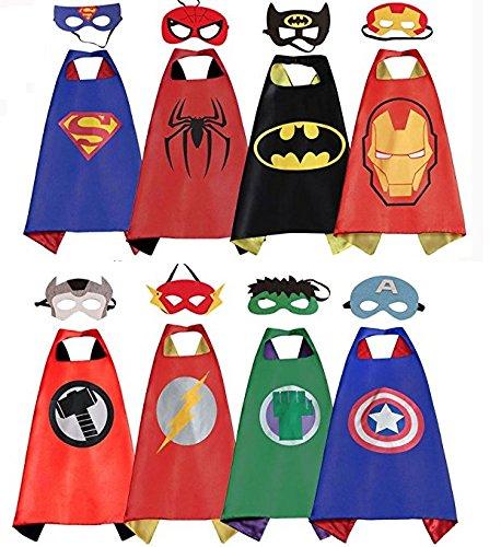 LansKids Comics Cartoon Heros Dress Up Costumes 8 Satin Capes with Felt Masks 8pcs