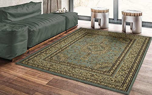 "51jbjkdxtuL - Ottomanson Royal Collection Traditional Oriental Medallion Design Area Rug, 5'3"" X 7'0"", Seafoam"