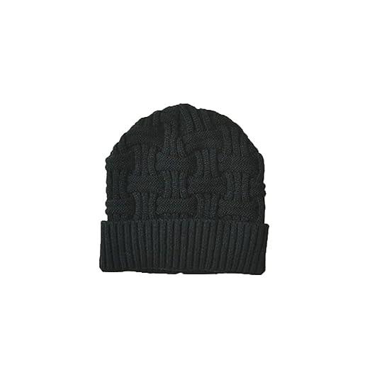 bb76b6b0098 Mens Winter Warm Knitting Hats Wool Baggy Slouchy Beanie Skull Cap (Black)