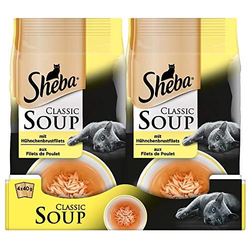 Sheba Classic Soup – Katzenfutter als Snack zur Ergänzung – in einer köstlichen Suppe, verschiedene Geschmacksrichtungen…