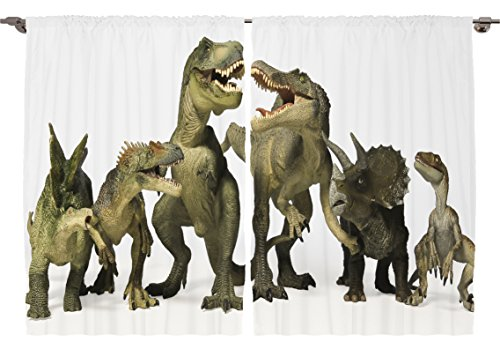Ambesonne Boys Teens Kids Room Animal Decor Collection, Dinosaurs T Rex Jurassic Green Dino Image Pattern, Window Treatments for Kids Bedroom Curtain 2 Panels Set, 108X84 Inches Green