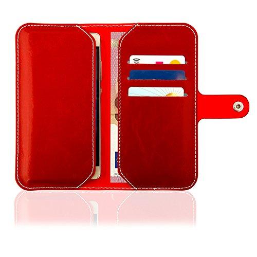 HQ Buch Tasche ROT Klapp Schutz Hülle Wallet Flip Case Etui für Apple Iphone 8