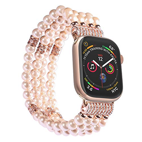 Imymax Replacement for Apple Watch Band 38mm/40mm Handmade Beaded Elastic Stretch Faux Pearl Bracelet Replacement iWatch Strap/Wristband for iWatch Series 4/3/2/1 - Pink for Women Girl (Beaded Handmade Watches)