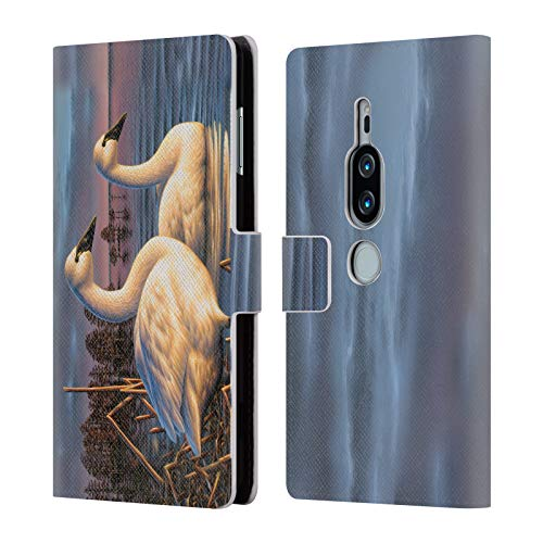 Official Chuck Black Evening Tundras Bird Art Leather Book Wallet Case Cover for Sony Xperia XZ2 Premium