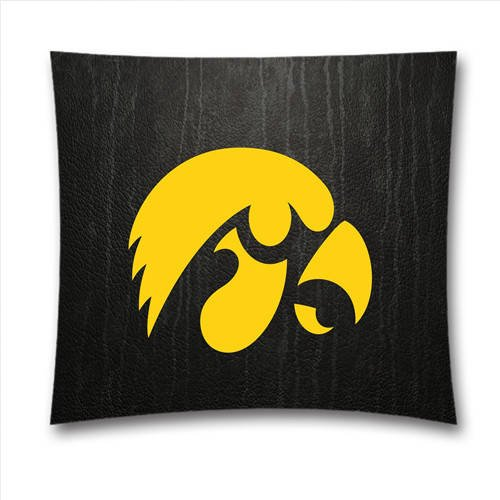 BlueCanoeH7018-NCAA Iowa Hawkeyes Designed Cotton Pillow Sham, Sport 18x18 inches Square Pillow Case, Thanksgiving Decorations