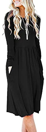 a45e6eeed30f AUSELILY Women's Long Sleeve Pockets Empire Waist Pleated Loose Swing  Casual Flare Dress (XS,