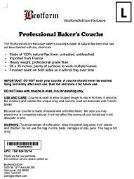 BrotformDotCom Bakers Couche - 100% Pure French Flax Linen Proofing Cloth 26 x 35 Inch, the Original Red Stripe Signature Couche
