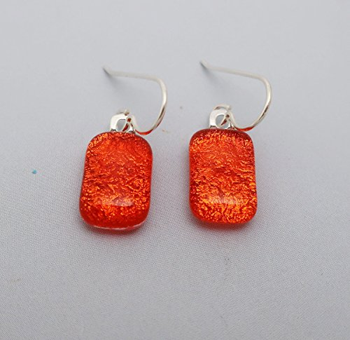 Petite Fused bright orange Dichroic Glass dangle Earrings 925 Sterling silver ear wires ()