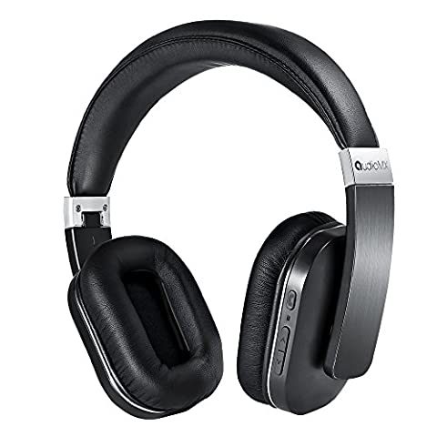 AudioMX Over-Ear Stereo Bluetooth Headphones with AptX Low Latency, Noise Isolation (Chrome Carbon) (Bluetooth Optional Headphones)
