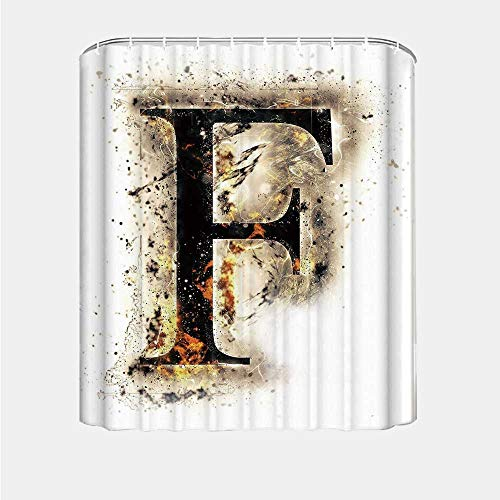 YOLIYANA Letter F Shower Curtain,Burning F Syllable Spoken Symbols of Language in Flames Latin Character for Kids Bathroom,66