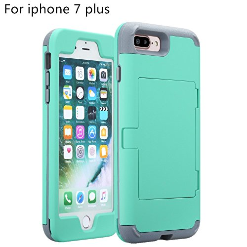 Price comparison product image iphone 7 Plus case,TOPBIN [Cosmetic Mirror] & [2 Card Slots] Hard PC+ Soft Silicone [3 in 1] Anti-Scratch Hybrid Full-Body Dual Protective Case for Apple iphone 7 Plus case (Aqua+Grey)