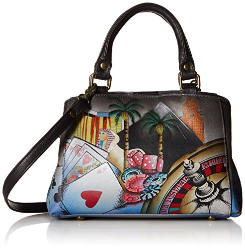 Anna by Anuschka Hand Painted Leather Women's Small MULTICOMPARTMENT Satchel, sin city